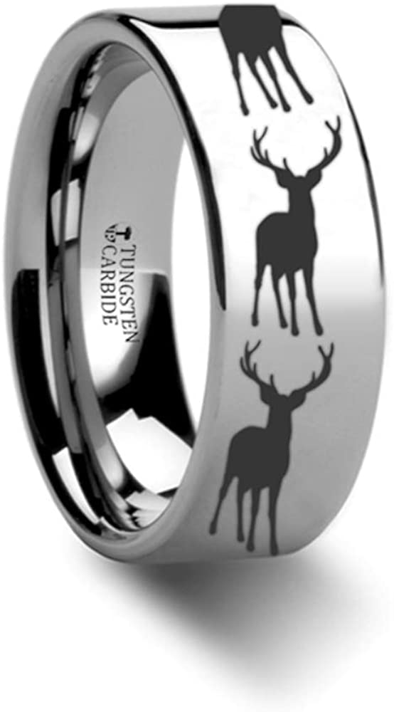 Stag Fawn Deer Elk Print Ring Engraved Flat Tungsten Ring 4mm 12mm