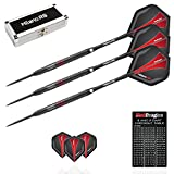 Red Dragon Milano RS: 21g - 90% Tungsten Steel Darts with Flights, Shafts, Case & Red Dragon Checkout Card