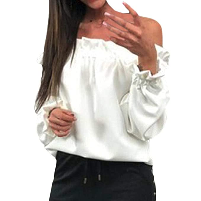 Blusas para Mujer PANY Elegante Suelta Volantes Manga Larga Mujeres Moda Fuera del Hombro Mariposa sólida