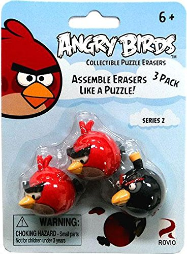 Eraseez Collectible Puzzle Eraser 3Pack Angry Birds 2 Red 1 Black