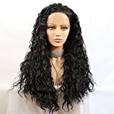 Meinod Black Loose Curly Lace Front Wigs Heat Resistant Fiber Hair Synthetic Lace Front Wig For Black Women (Color 1B)