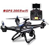 Qiyun RC Aircraft X183 WIFI RC Quadcopter with HD Camera 5.10G Graph Transmission Aircraft Drone Toyscolour:x183 GPS 2 million wifi camera (black)
