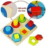 ACOOLTOY Forme in Legno Puzzle Colonna di Ordinamento Building Blocks Set per 18 Mesi Capretto