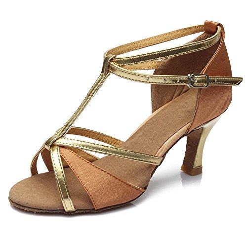 YFF Die Mädchen Frauen Ballroom Tango Salsa Latin Dance Schuhe, 7 cm Absatz Tan, 8.