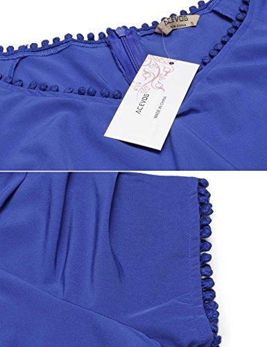 Acevog Femmes Des Années 1950 Bat Son Rockabilly Plissé Millésime Robe De Soirée Bleu