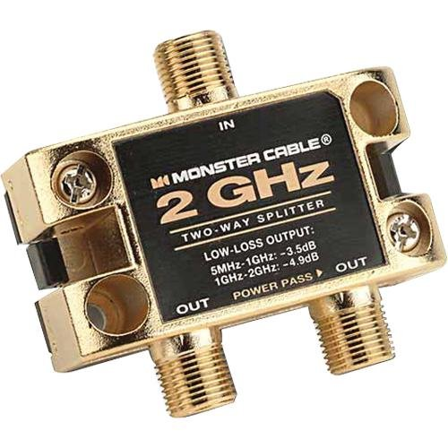 Monster Cable Ultra Two Gigahertz Low-Loss RF Splitter for TV and Satellite - 2 Way 2 GHz RF Splitter