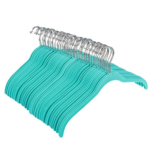 "Ultra-Slim Basic Teal Velvet Huggable Shirt and Dress Hanger 16.5"" x 0.2"" x 9.1"" -Box of 50 - by Juvale"