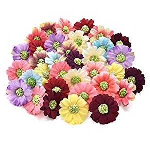 Fake flower heads in bulk Wholesale for Crafts Small Silk Sunflower Daisy Handmake Artificial Flower Head Wedding Decoration DIY Wreath Gift Box Scrapbooking Craft Flower 100pcs 4cm (Colorful) 1