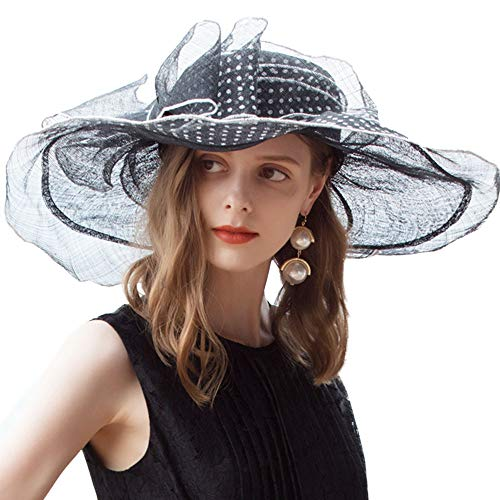 (FADVES Women Wide Brim Polka Dot Hats Sinamay Kentucky Derby Floppy Dressy Hat Black)