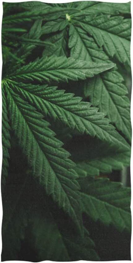 Toallas para el cabello para mujeres Hojas de marihuana Cannabis On Dark Toalla suave Toalla de la mano Toalla de mano para el baño del bebé Envoltura de ducha Gimnasio Deporte 30x15 pulgadas Baño de