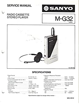 sanyo m g32 radio stereo cassette player service manual sanyo rh amazon com