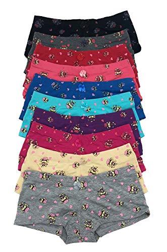 Iheyi 12 pieces Quality Teen Big Girl Pink Love Heart Monkey Cotton Boyshorts Panty S/M/L/XL (XL X-Large)