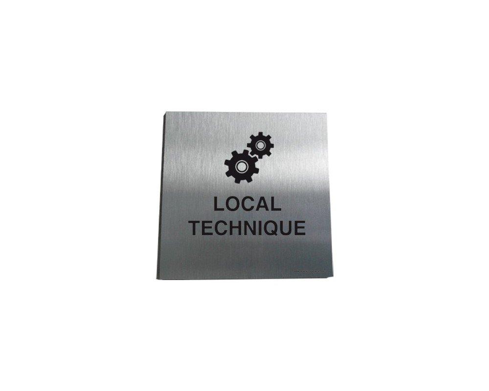 AUA SIGNALETIQUE - Plaque Alu Brossé Local Techniques 02 - 130x130 mm