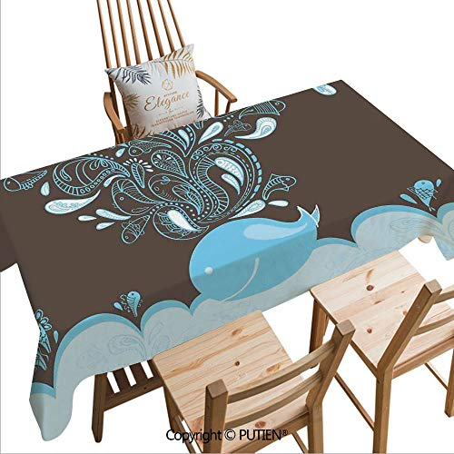SCOCICI Fashion Rectangular Tablecloth Baloon Like Whale in The Ocean with Bubbles Cartoon Batik Tribal Style Image for Dinner Kitchen Home Decor,W70xL55(inch) ()