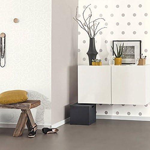 Caselio 67799099 Papel pintado con lunares de 5 cm /ápex con el fondo en color blanco roto y dibujos metalizados plateados