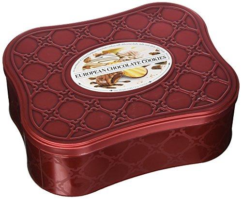 European Chocolate Cookie Tin Assortment of 12 Cookie Varieties with Dark, Milk and White Chocolates Net Wt 3 Lbs 1.3 OZ (1400 g) ()