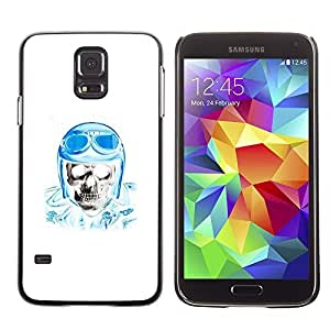 A-type Colorful Printed Hard Protective Back Case Cover Shell Skin for SAMSUNG Galaxy S5 V / i9600 / SM-G900F / SM-G900M / SM-G900A / SM-G900T / SM-G900W8 ( Biker Helmet Blue Skull Pilot White )
