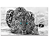 Black and White Animal Canvas Wall Art,Abstract Leopard Canvas Prints with Frame,Attractive Leopard Picture Decorative,Easy Hanging On,More Size Optional (24''x40'')