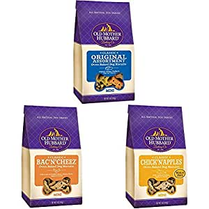 Old Mother Hubbard Crunchy Classic Natural Dog Treats, Mini Biscuits, Variety Bundle (Three 5-Ounce Bags)