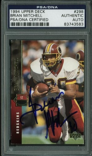 Redskins Brian Mitchell Authentic Signed Card 1994 Upper Deck #298 PSA Slabbed