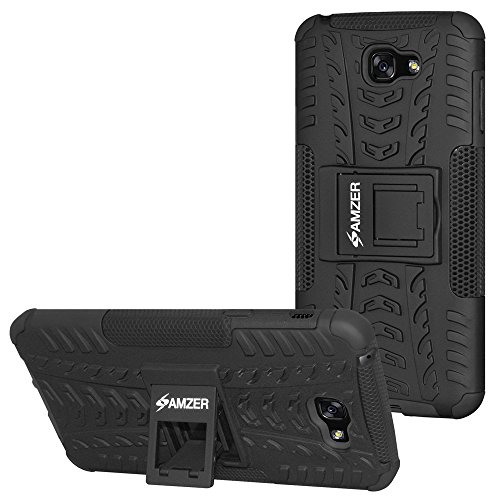 AMZER Slim Protective Shockproof Heavy Duty Hybrid Warrior Dual Layer Case for Samsung Galaxy A7 2017 SM-A720F - Black