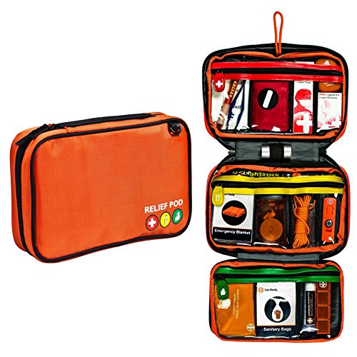 First Aid Kit Bag, Relief Pod Traveler Pro Plus Safety First Aid Kit Small, 62pc by By-Relief Pod