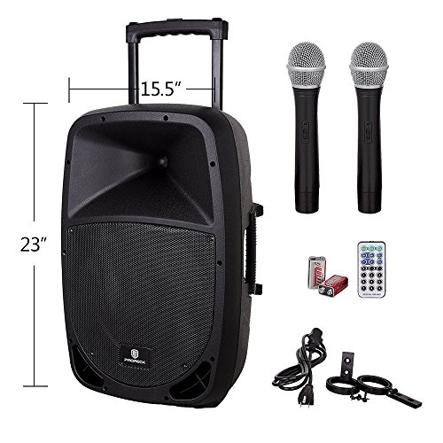 PRORECK FREEDOM 12 Portable 12-Inch Woofer 500 Watt 2-Way Powered Dj/PA Speaker with Bluetooth/USB/SD Card Reader/ FM Radio/Remote Control/Wireless Microphones by PRORECK