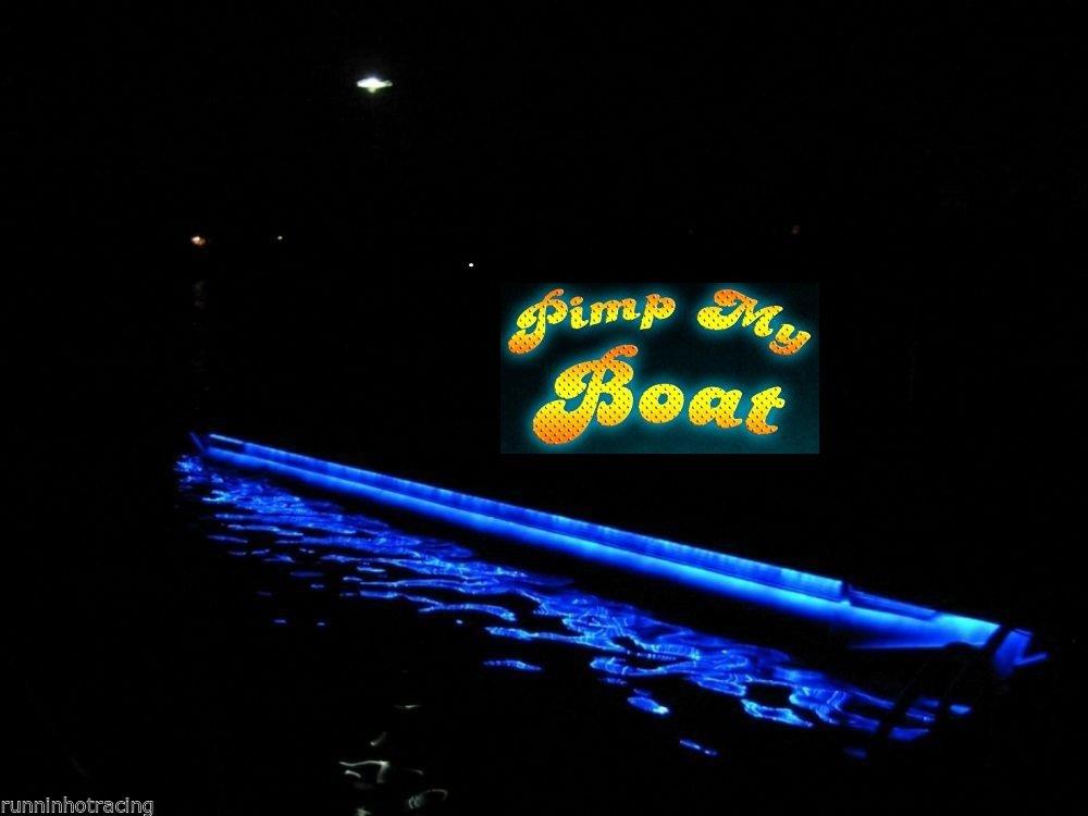 Green Blob Outdoors Pimp My Pontoon Blue LED Boat Deck Lighting Kit with Bonus Red & Green Navigation Lights DIY Pontoon Under Deck Lighting kit for Pontoon Boats by Green Blob Outdoors