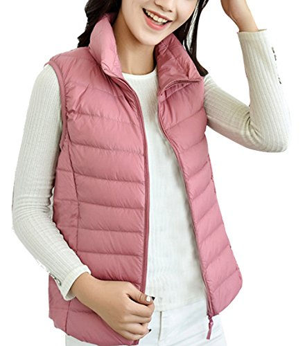 RESPEEDIME Women's Down Vest Warm Slim Collar Coat Female's Lightweight Jacket Pink X-Large ()
