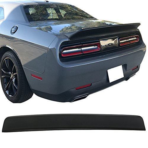 (Trunk Spoiler Wing Fits 2015-2018 Dodge Challenger | SXT Style Black PP Added On Rear Trunk Spoiler Lip Wing Bodykits Body kit Aby IKON MOTORSPORTS | 2016 2017)