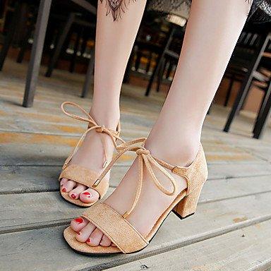 pwne Sandalias Mujer Primavera Verano Zapatos Club Gladiator Comodidad Suede Peep Toe Oficina &Amp; Carrera Parte &Amp; Traje De Noche Chunky Heel Lace-Up US8 / EU39 / UK6 / CN39