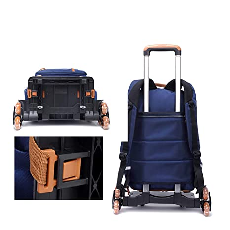 ... Trolley Backpack& Trolley Carry On Luggage with Removable Pull Rod Climbing Stairs Wheeled Backpack 7-12Years Old for Kids, 1 : Sports & Outdoors
