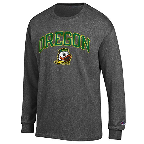 Elite Fan Oregon Ducks Men's Long Sleeve Arch Tee, Dark Heather, Medium