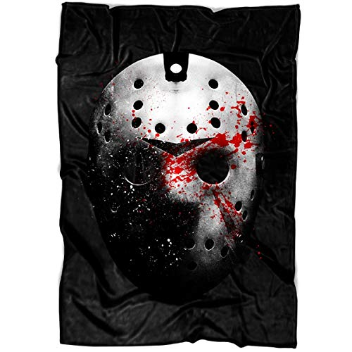 ROEBAGS Friday The 13th Halloween Soft Fleece Throw Blanket, Jason Voorhees Horror Movies Fleece Luxury Blanket (Large Blanket (80