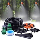 "MIXC 1/4-inch Mist Irrigation Kits Accessories Plant Watering System 50ft 1/4"" Blank Distribution Tubing Hose, 20pcs Misters, 39pcs Barbed Fittings, Support Stakes, Quick Adapter, Model: GG0B"