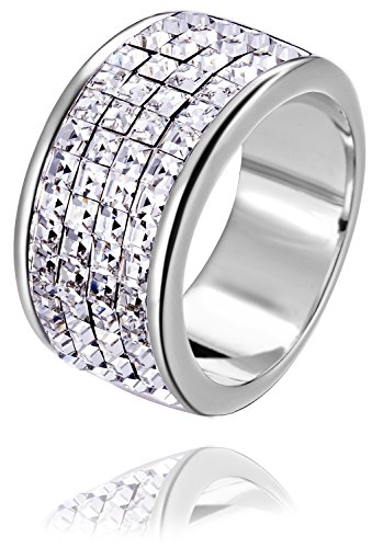 (FAPPAC Channel Ring Band Enriched with Swarovski Crystals - White - 9)