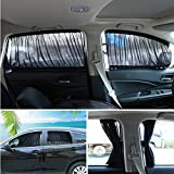 Andux Land Car Window Shade Curtain Cotton Sunshade UV Protection PBCL-01, a pair (Black, 50L)