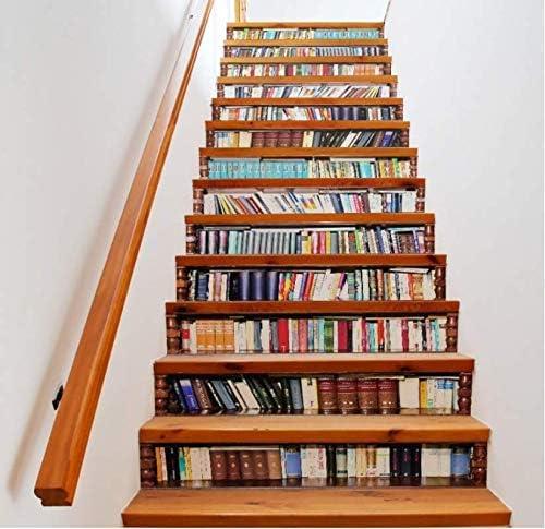 tonywu Escalera Decorativa Libros creativos Librería Salón 3D Patrón Tema Escaleras Pegatinas Vida en el hogar Decoración Pegatinas de Piso de Plástico: Amazon.es: Hogar
