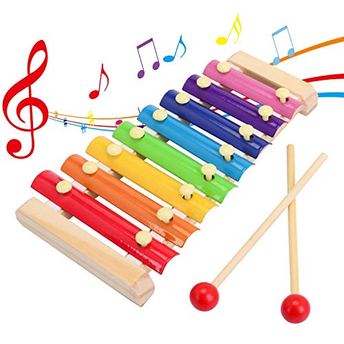 SGVV90 Wooden Xylophone Children's Musical Instruments Toy Wooden 8 Keys Hand Knock with Mallets Preschool Educational…