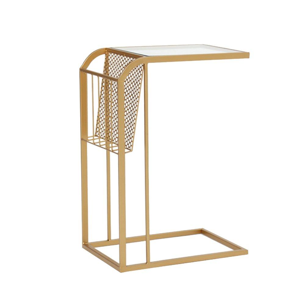 XIA 折り畳みテーブル ベッドルーム小テーブルベッドサイドテーブルミニ小コーヒーテーブルアイロン 折りたたみテーブル (色 : ゴールド) B07F69YF6P ゴールド ゴールド