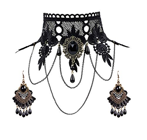 Eternity J. Elegant Vintage Princess Black Lace Gothic Statement Necklace Victorian Lolita Choker Pendant Vampire Chain Necklace Earring Set (Pendant Victorian Floral)