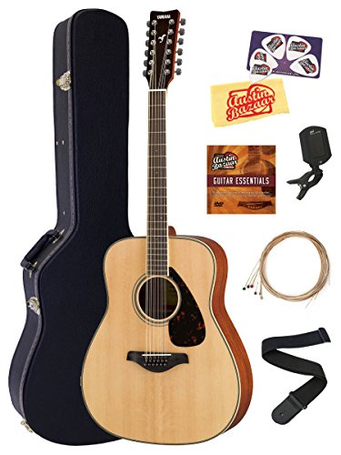 Yamaha FG820-12 12-String Solid Top Folk Acoustic Guitar – Natural Bundle with Hard Case, Tuner, Strings, Strap, Picks, Austin Bazaar Instructional DVD, and Polishing Cloth