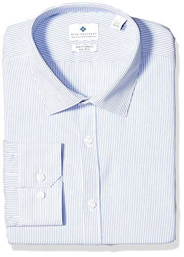 - Ryan Seacrest Distinction Men's Ultimate Slim Fit Non Iron Stretch Dress Shirt, Blue Pinstripe, 18 34/35