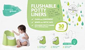 ToddleGreen Flushable Potty Liners, 30 Count