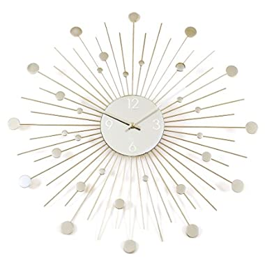 Starburst Retro Wall Clock, Silver