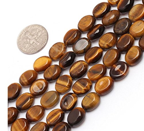 Emerald Flat Beads (Top Quality Natural Tiger Eye Gemstone Beads 14x10mm Smooth Flat Oval Loose Beads 15.5