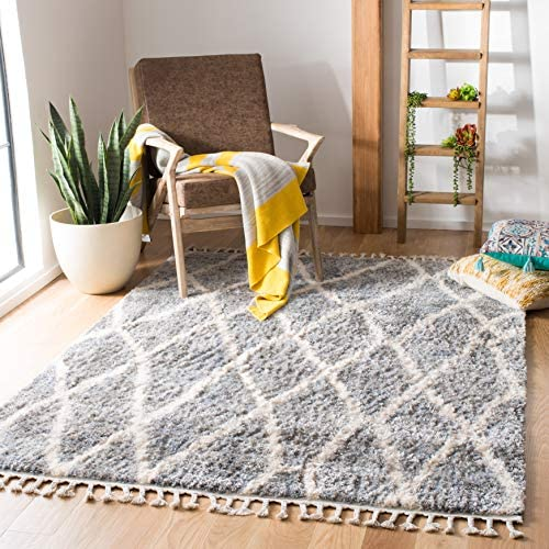 Safavieh BFG628M-9 Berber Fringe Shag Collection BFG628M Grey and Cream 9' x 12' Area Rug