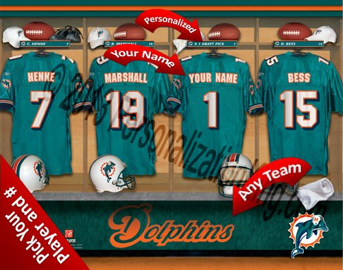 Miami Dolphins Team Locker Room Clubhouse Personlized Officially Licensed NFL Photo Print ()