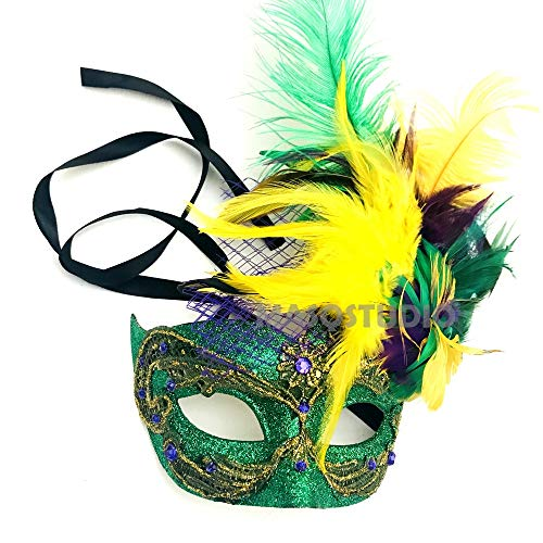 - MASQSTUDIO Mardi Gras Women and Mens Masquerade Ball Mask Pair Carnival Parade Event Party Wear (Feather mask Only)