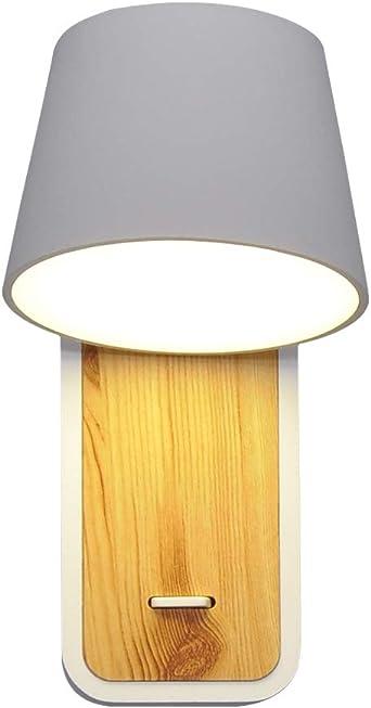 Artpad - Lámpara de pared nórdica LED blanca neutra de 7 vatios con base e interruptor de